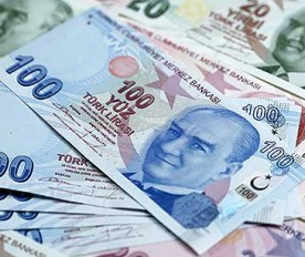 Turkish lira banknotes are seen in this file photo illustration shot in Istanbul