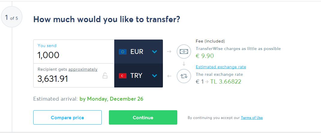 TransferWise ile Yurtdışından Türkiye'ye Para Transferi 4